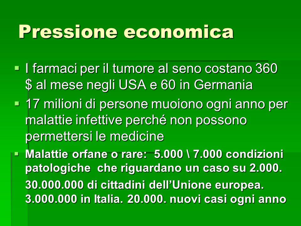 Pressione economica I farmaci per il tumore al seno costano 360 $ al mese negli USA e 60 in Germania I farmaci per il tumore al seno costano 360 $ al