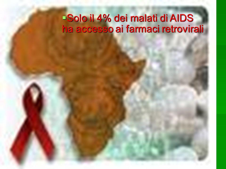 Solo il 4% dei malati di AIDS ha accesso ai farmaci retrovirali Solo il 4% dei malati di AIDS ha accesso ai farmaci retrovirali
