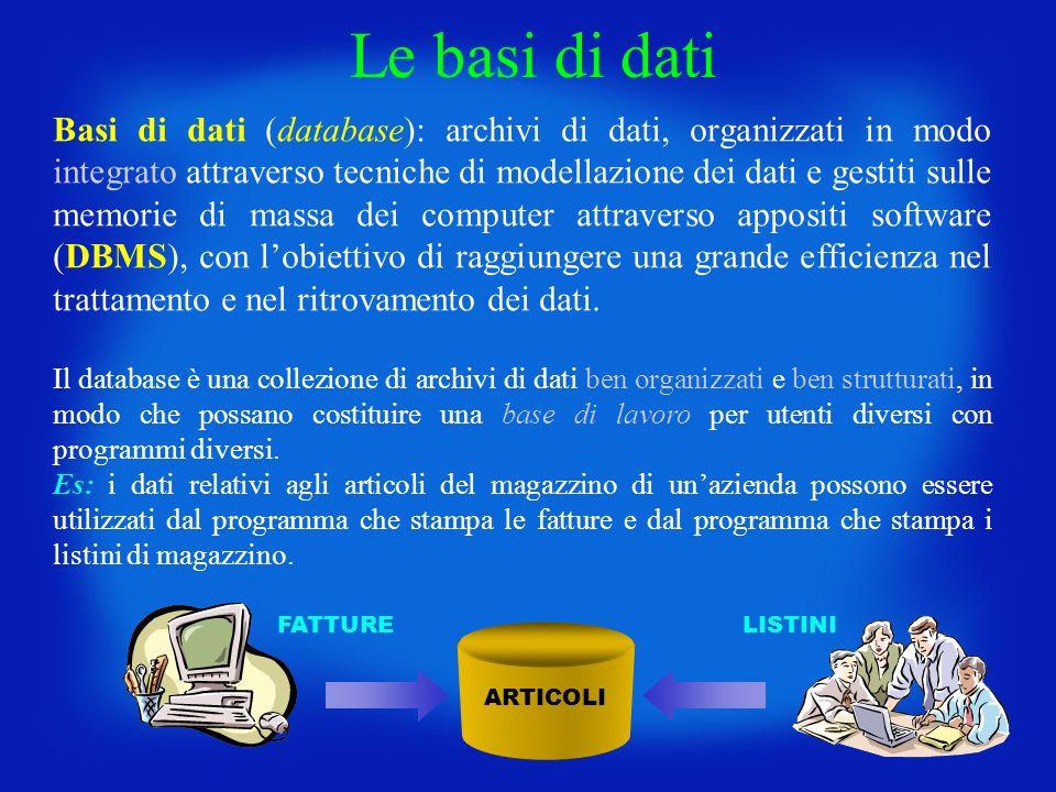 Le basi di dati Basi di dati (database): archivi di dati, organizzati in modo integrato attraverso tecniche di modellazione dei dati e gestiti sulle m