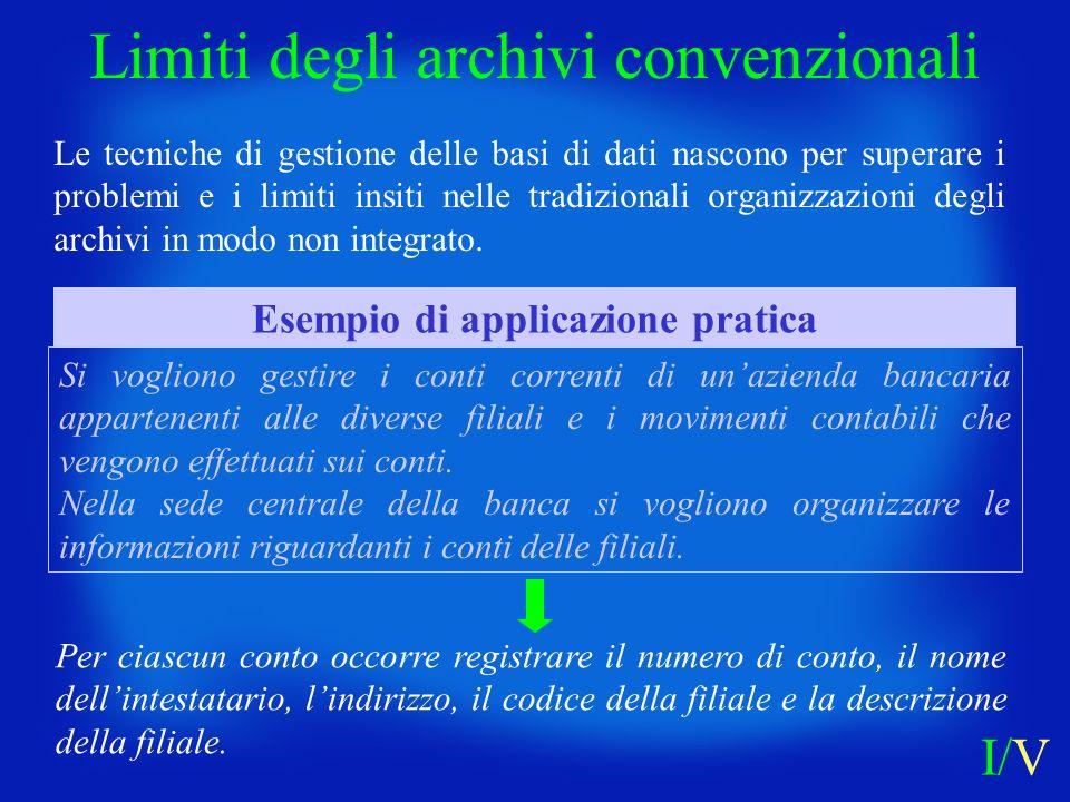 Le tecniche di gestione delle basi di dati nascono per superare i problemi e i limiti insiti nelle tradizionali organizzazioni degli archivi in modo n