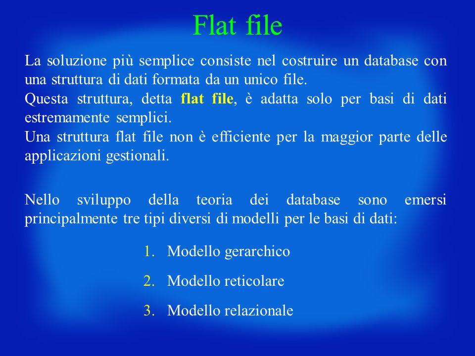 La soluzione più semplice consiste nel costruire un database con una struttura di dati formata da un unico file. Questa struttura, detta flat file, è