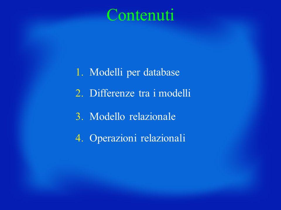 Modello relazionale: concetti di base Il modello relazionale si basa sul concetto matematico di relazione tra insiemi di oggetti.
