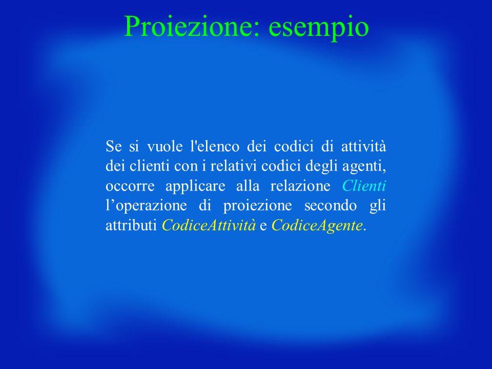 Proiezione: esempio Se si vuole l'elenco dei codici di attività dei clienti con i relativi codici degli agenti, occorre applicare alla relazione Clien