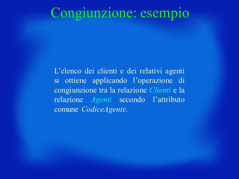 Congiunzione: esempio Lelenco dei clienti e dei relativi agenti si ottiene applicando loperazione di congiunzione tra la relazione Clienti e la relazi