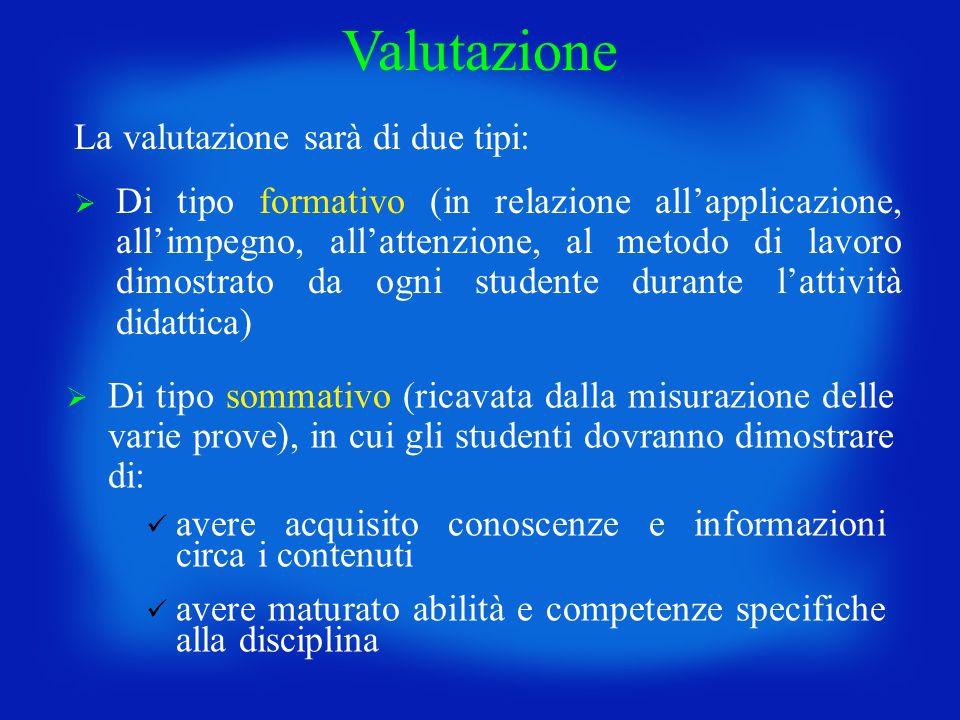 Di tipo formativo (in relazione allapplicazione, allimpegno, allattenzione, al metodo di lavoro dimostrato da ogni studente durante lattività didattic