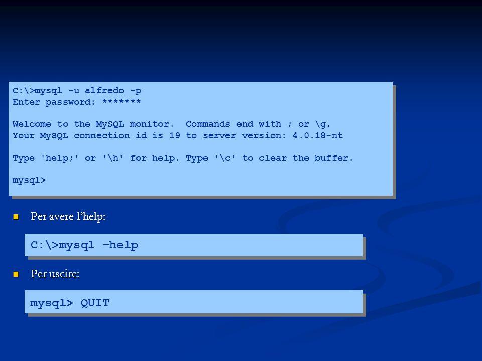 C:\>mysql -u alfredo -p Enter password: ******* Welcome to the MySQL monitor.