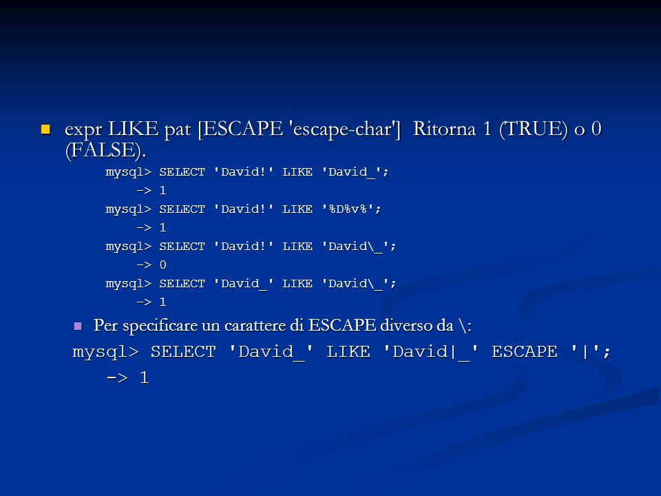 expr LIKE pat [ESCAPE 'escape-char'] Ritorna 1 (TRUE) o 0 (FALSE). expr LIKE pat [ESCAPE 'escape-char'] Ritorna 1 (TRUE) o 0 (FALSE). mysql> SELECT 'D