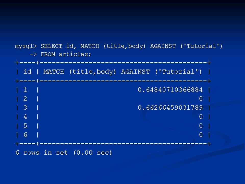 mysql> SELECT id, MATCH (title,body) AGAINST ('Tutorial') -> FROM articles; -> FROM articles;+----+-----------------------------------------+ | id | M