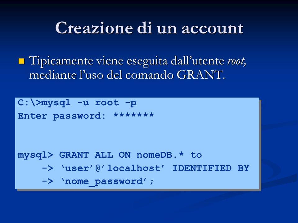 Creazione di un account Tipicamente viene eseguita dallutente root, mediante luso del comando GRANT. Tipicamente viene eseguita dallutente root, media