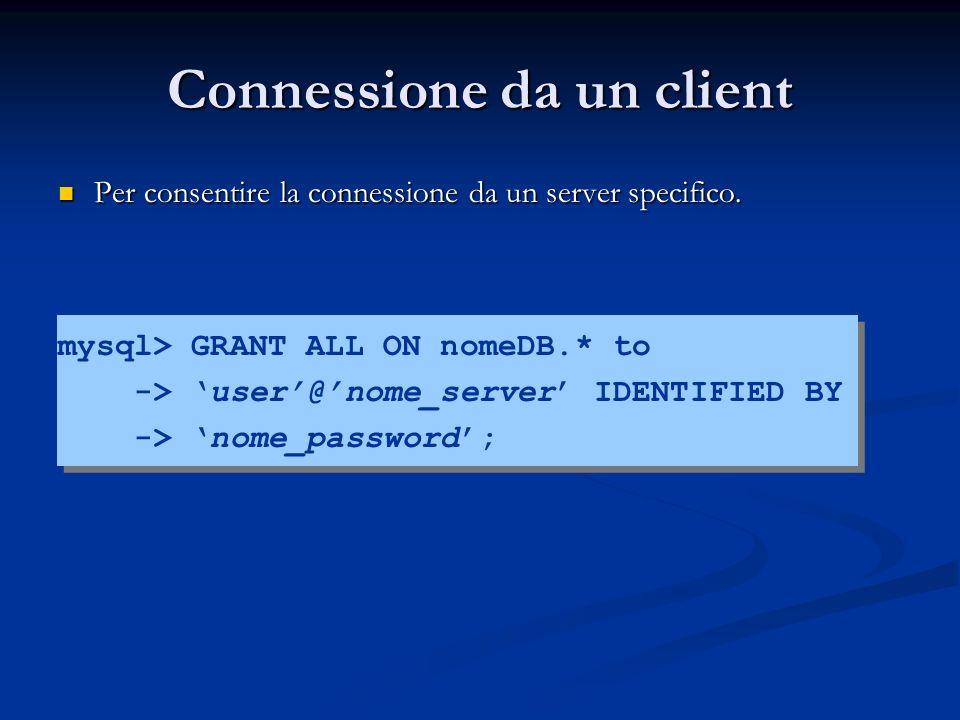 Connessione da un client Per consentire la connessione da un server specifico. Per consentire la connessione da un server specifico. mysql> GRANT ALL