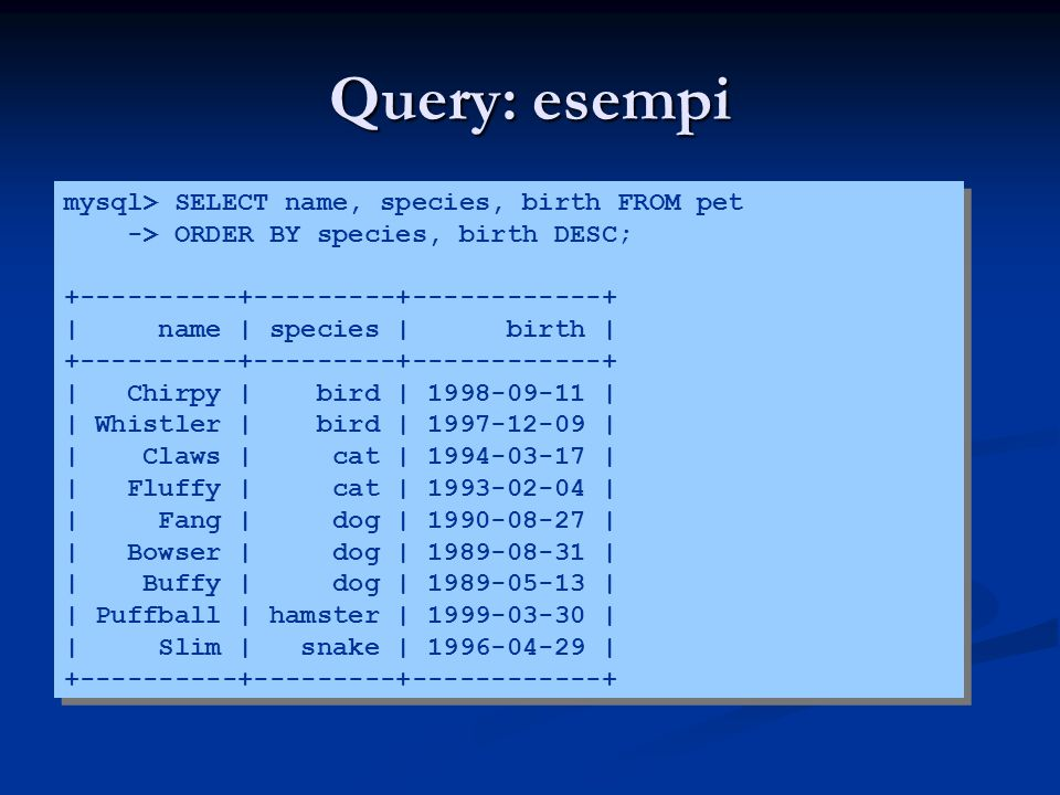 Query: esempi mysql> SELECT name, species, birth FROM pet -> ORDER BY species, birth DESC; +----------+---------+------------+ | name | species | birth | +----------+---------+------------+ | Chirpy | bird | 1998-09-11 | | Whistler | bird | 1997-12-09 | | Claws | cat | 1994-03-17 | | Fluffy | cat | 1993-02-04 | | Fang | dog | 1990-08-27 | | Bowser | dog | 1989-08-31 | | Buffy | dog | 1989-05-13 | | Puffball | hamster | 1999-03-30 | | Slim | snake | 1996-04-29 | +----------+---------+------------+