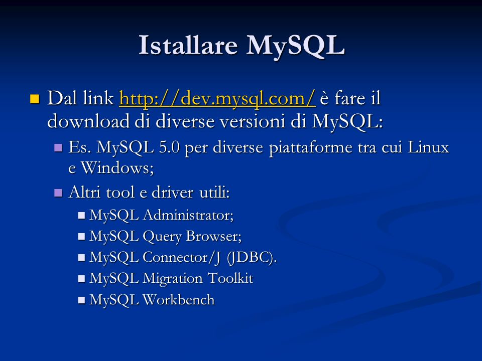 Query: esempi mysql> SELECT * FROM pet WHERE name = Bowser ; +--------+-------+---------+------+------------+------------+ | name | owner | species | sex | birth | death | +--------+-------+---------+------+------------+------------+ | Bowser | Diane | dog | m | 1989-08-31 | 1995-07-29 | +--------+-------+---------+------+------------+------------+ mysql> SELECT * FROM pet WHERE (species = cat AND sex = m ) -> OR (species = dog AND sex = f ); +-------+--------+---------+------+------------+-------+ | name | owner | species | sex | birth | death | +-------+--------+---------+------+------------+-------+ | Claws | Gwen | cat | m | 1994-03-17 | NULL | | Buffy | Harold | dog | f | 1989-05-13 | NULL | +-------+--------+---------+------+------------+-------+