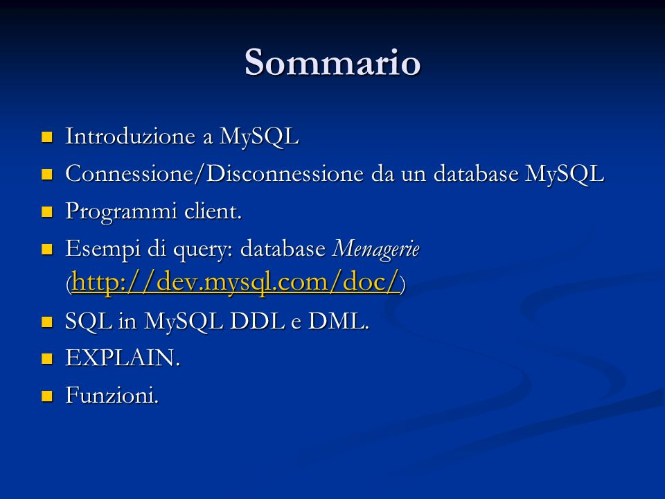 Funzioni di confronto tra stringhe MATCH (col1,col2,...) AGAINST (expr [IN BOOLEAN MODE | WITH QUERY EXPANSION] ) MATCH...