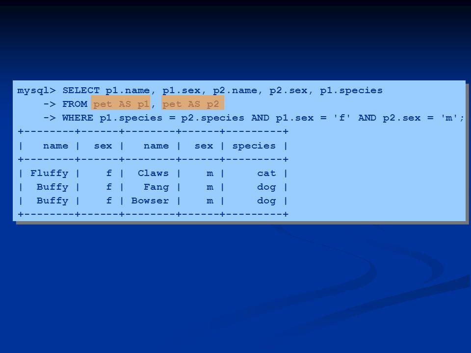 mysql> SELECT p1.name, p1.sex, p2.name, p2.sex, p1.species -> FROM pet AS p1, pet AS p2 -> WHERE p1.species = p2.species AND p1.sex = 'f' AND p2.sex =