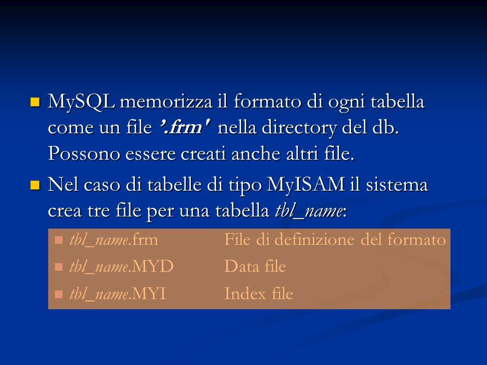 MySQL memorizza il formato di ogni tabella come un file.frm' nella directory del db. Possono essere creati anche altri file. MySQL memorizza il format