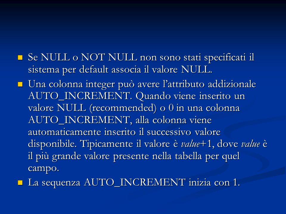 Se NULL o NOT NULL non sono stati specificati il sistema per default associa il valore NULL.