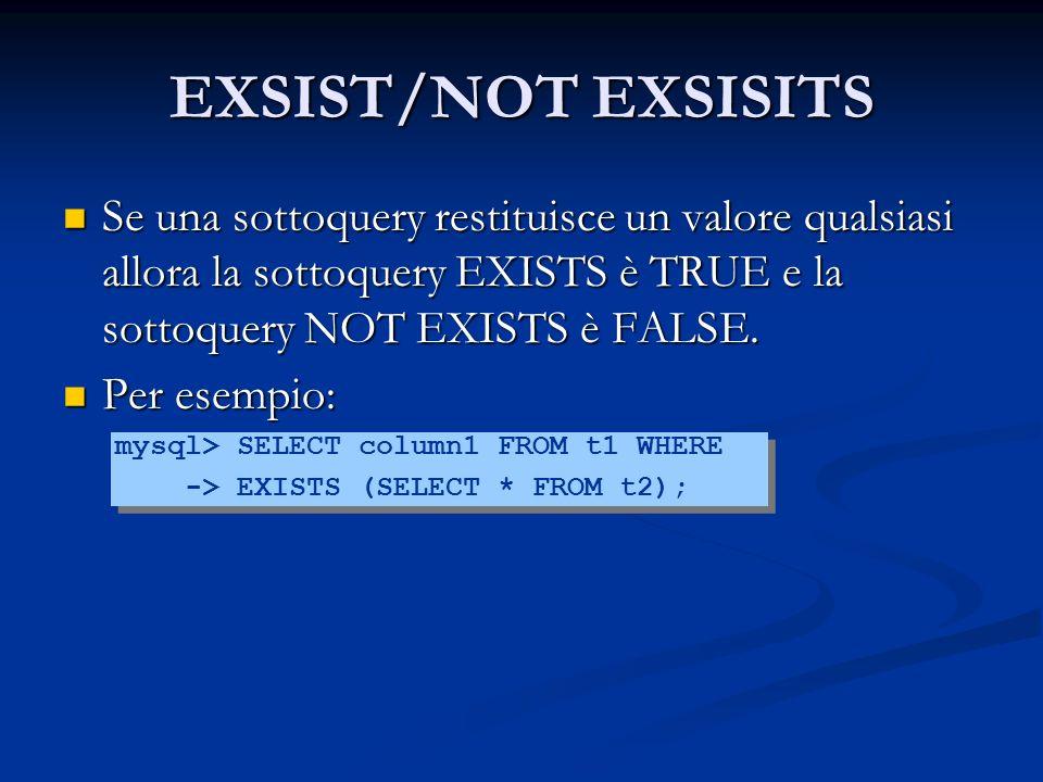 EXSIST/NOT EXSISITS Se una sottoquery restituisce un valore qualsiasi allora la sottoquery EXISTS è TRUE e la sottoquery NOT EXISTS è FALSE. Se una so