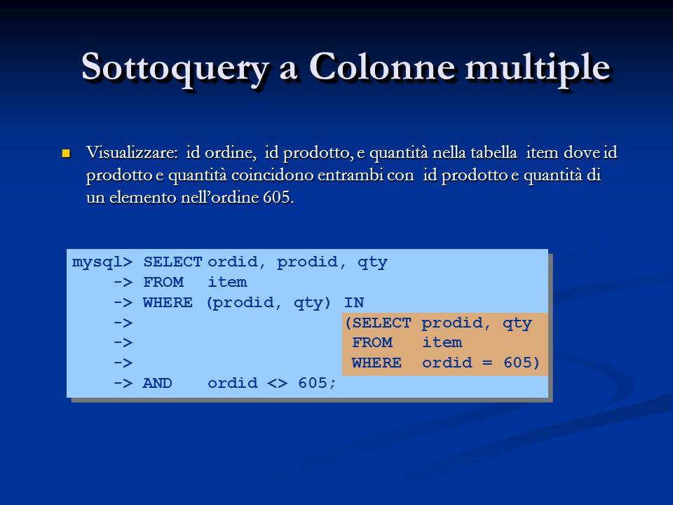 Sottoquery a Colonne multiple Visualizzare: id ordine, id prodotto, e quantità nella tabella item dove id prodotto e quantità coincidono entrambi con id prodotto e quantità di un elemento nellordine 605.