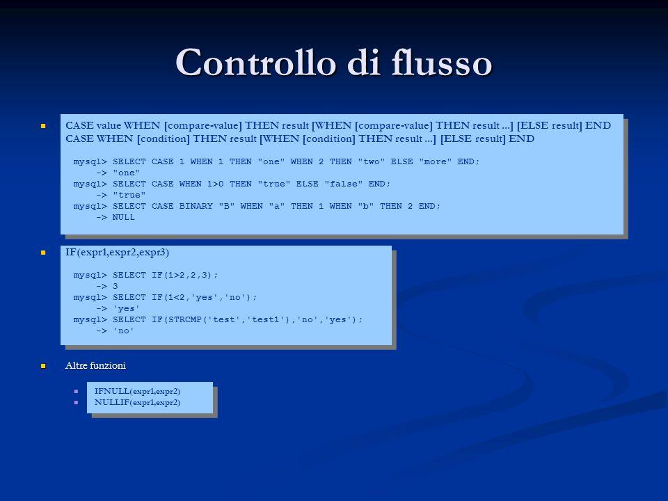 Controllo di flusso CASE value WHEN [compare-value] THEN result [WHEN [compare-value] THEN result...] [ELSE result] END CASE WHEN [condition] THEN res