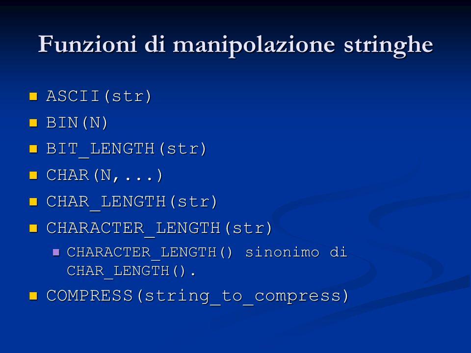 Funzioni di manipolazione stringhe ASCII(str) ASCII(str) BIN(N) BIN(N) BIT_LENGTH(str) BIT_LENGTH(str) CHAR(N,...) CHAR(N,...) CHAR_LENGTH(str) CHAR_L