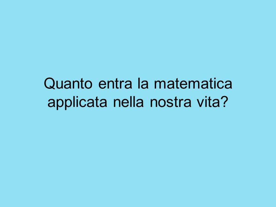 Quanto entra la matematica applicata nella nostra vita?