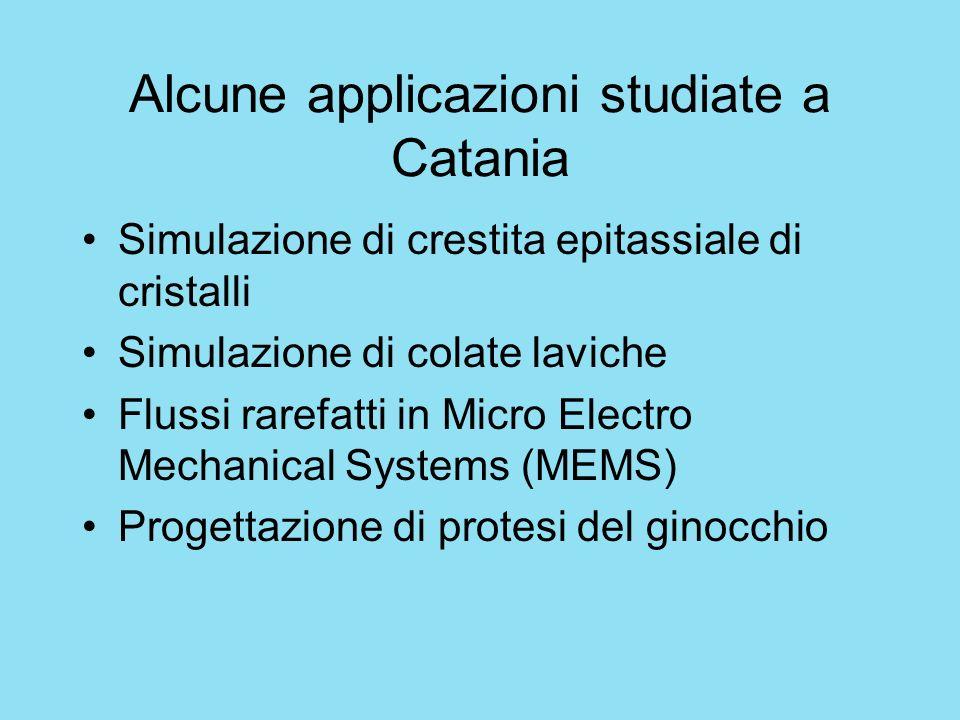 Alcune applicazioni studiate a Catania Simulazione di crestita epitassiale di cristalli Simulazione di colate laviche Flussi rarefatti in Micro Electr