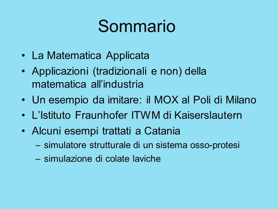 Sommario La Matematica Applicata Applicazioni (tradizionali e non) della matematica allindustria Un esempio da imitare: il MOX al Poli di Milano LIsti