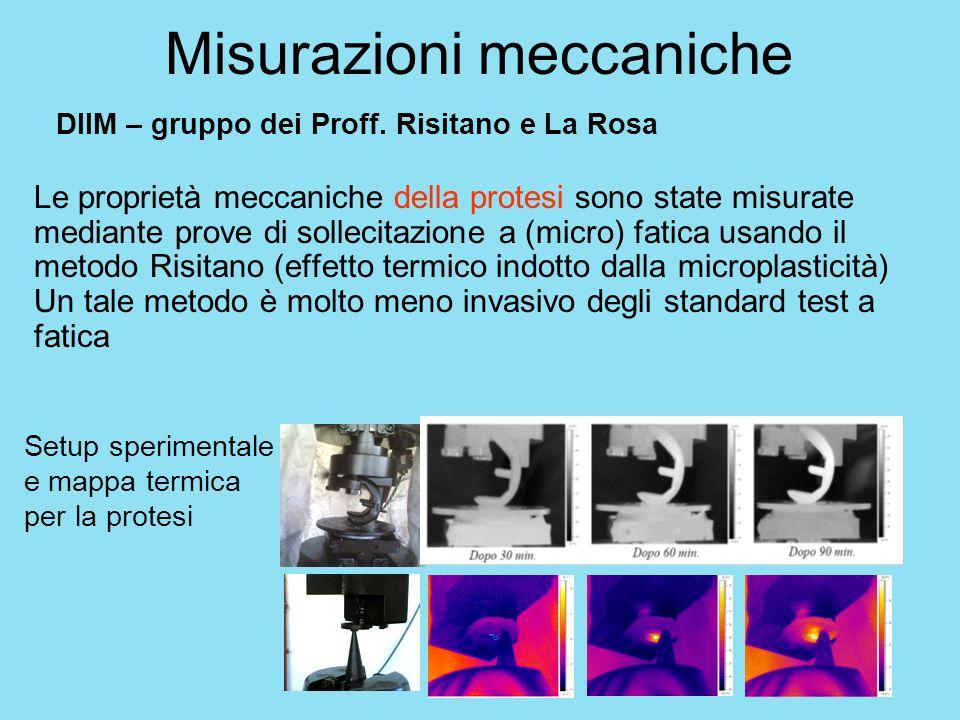 Misurazioni meccaniche Le proprietà meccaniche della protesi sono state misurate mediante prove di sollecitazione a (micro) fatica usando il metodo Ri