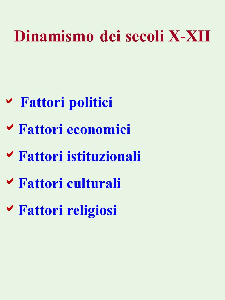 Dinamismo dei secoli X-XII Fattori politici Fattori economici Fattori istituzionali Fattori culturali Fattori religiosi