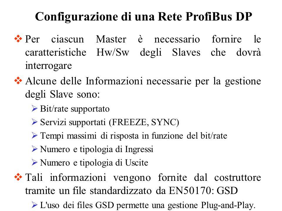 Per ciascun Master è necessario fornire le caratteristiche Hw/Sw degli Slaves che dovrà interrogare Alcune delle Informazioni necessarie per la gestio