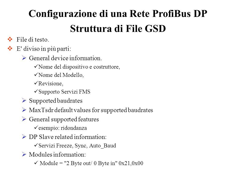 Struttura di File GSD File di testo. E' diviso in più parti: General device information. Nome del dispositivo e costruttore, Nome del Modello, Revisio