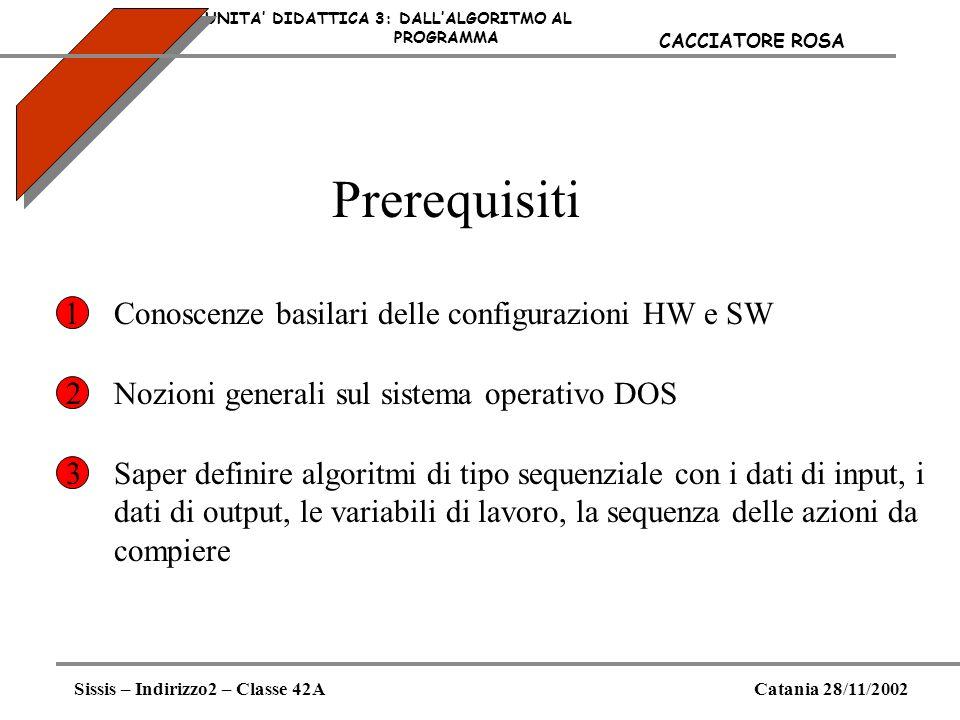 Prerequisiti UNITA DIDATTICA 3: DALLALGORITMO AL PROGRAMMA Sissis – Indirizzo2 – Classe 42ACatania 28/11/2002 CACCIATORE ROSA Conoscenze basilari dell