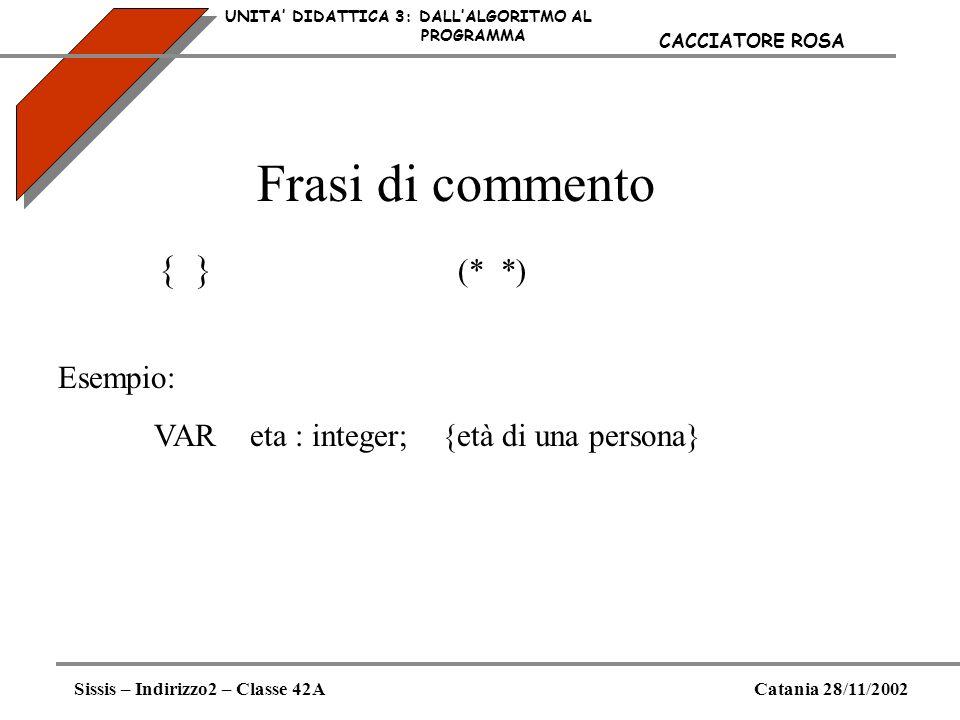 Frasi di commento UNITA DIDATTICA 3: DALLALGORITMO AL PROGRAMMA Sissis – Indirizzo2 – Classe 42ACatania 28/11/2002 CACCIATORE ROSA Esempio: VAReta : i