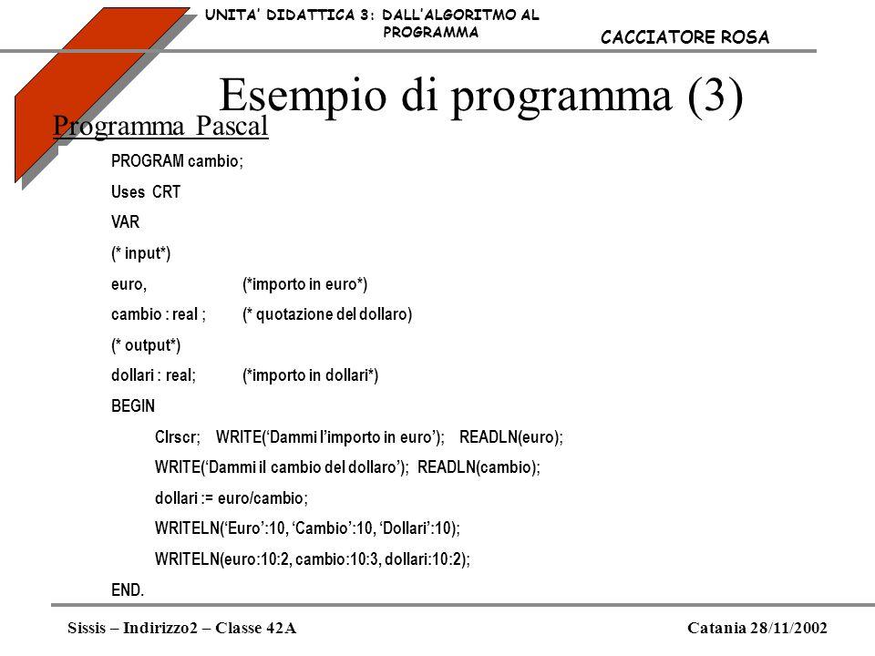 Esempio di programma (3) UNITA DIDATTICA 3: DALLALGORITMO AL PROGRAMMA Sissis – Indirizzo2 – Classe 42ACatania 28/11/2002 CACCIATORE ROSA Programma Pa