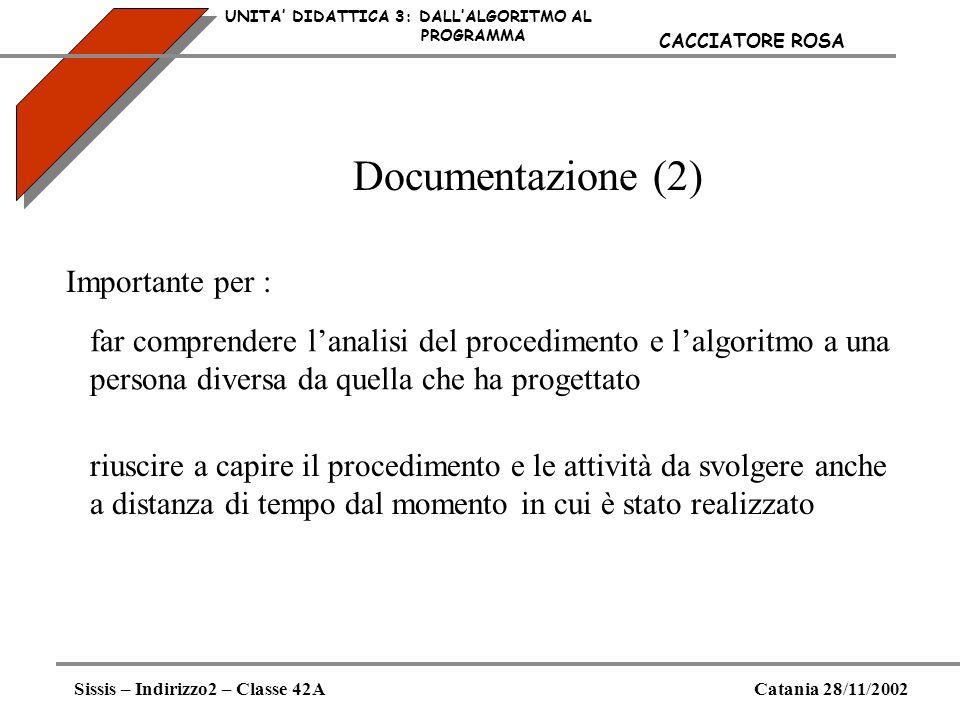 Documentazione (2) UNITA DIDATTICA 3: DALLALGORITMO AL PROGRAMMA Sissis – Indirizzo2 – Classe 42ACatania 28/11/2002 CACCIATORE ROSA Importante per : f