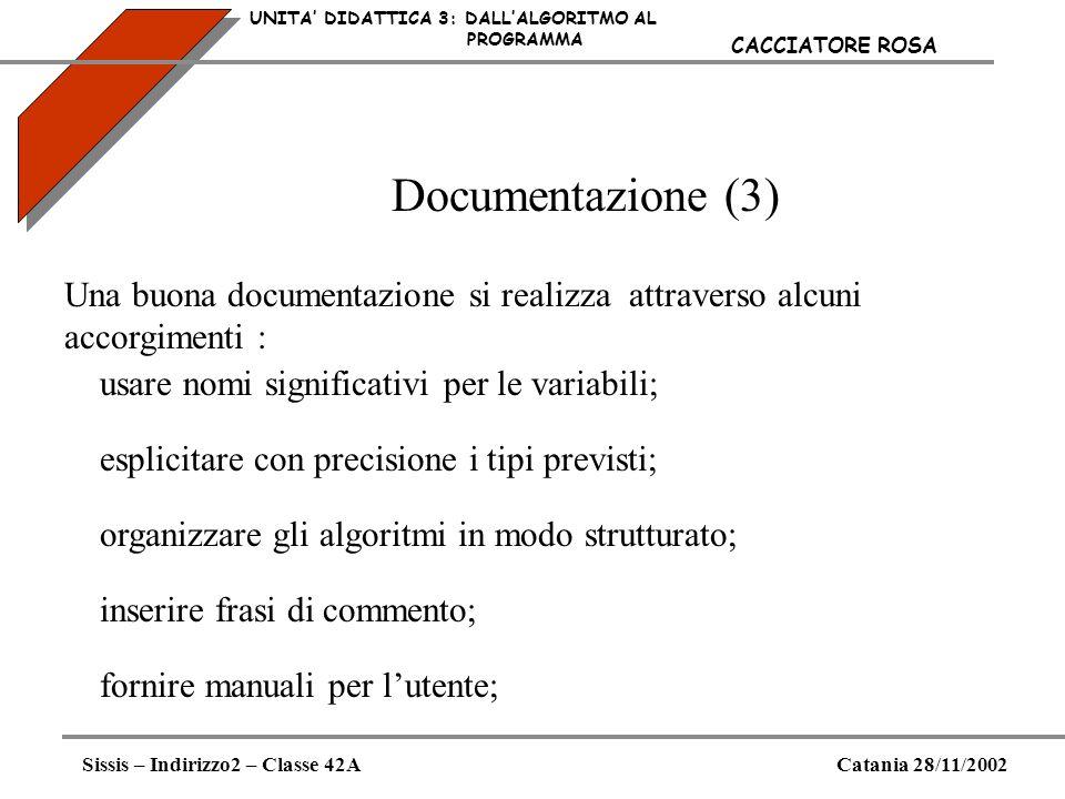 Documentazione (3) UNITA DIDATTICA 3: DALLALGORITMO AL PROGRAMMA Sissis – Indirizzo2 – Classe 42ACatania 28/11/2002 CACCIATORE ROSA Una buona document