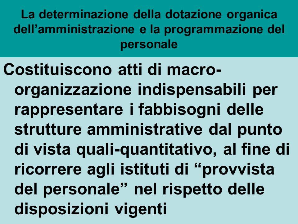 La individuazione delle dotazioni organiche (art.6 d lgs.