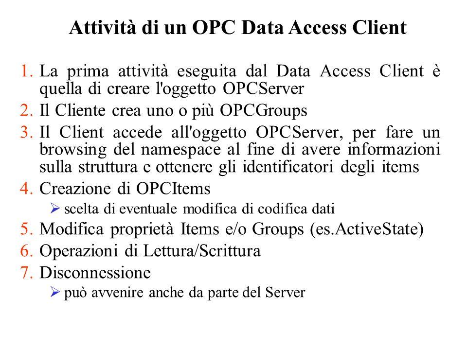 1.La prima attività eseguita dal Data Access Client è quella di creare l'oggetto OPCServer 2.Il Cliente crea uno o più OPCGroups 3.Il Client accede al