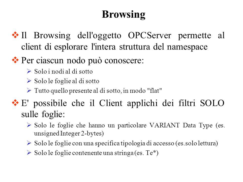Il Browsing dell'oggetto OPCServer permette al client di esplorare l'intera struttura del namespace Per ciascun nodo può conoscere: Solo i nodi al di