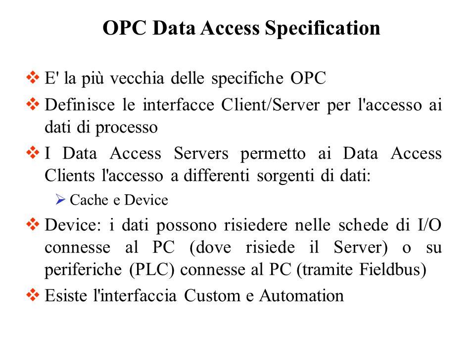 E' la più vecchia delle specifiche OPC Definisce le interfacce Client/Server per l'accesso ai dati di processo I Data Access Servers permetto ai Data
