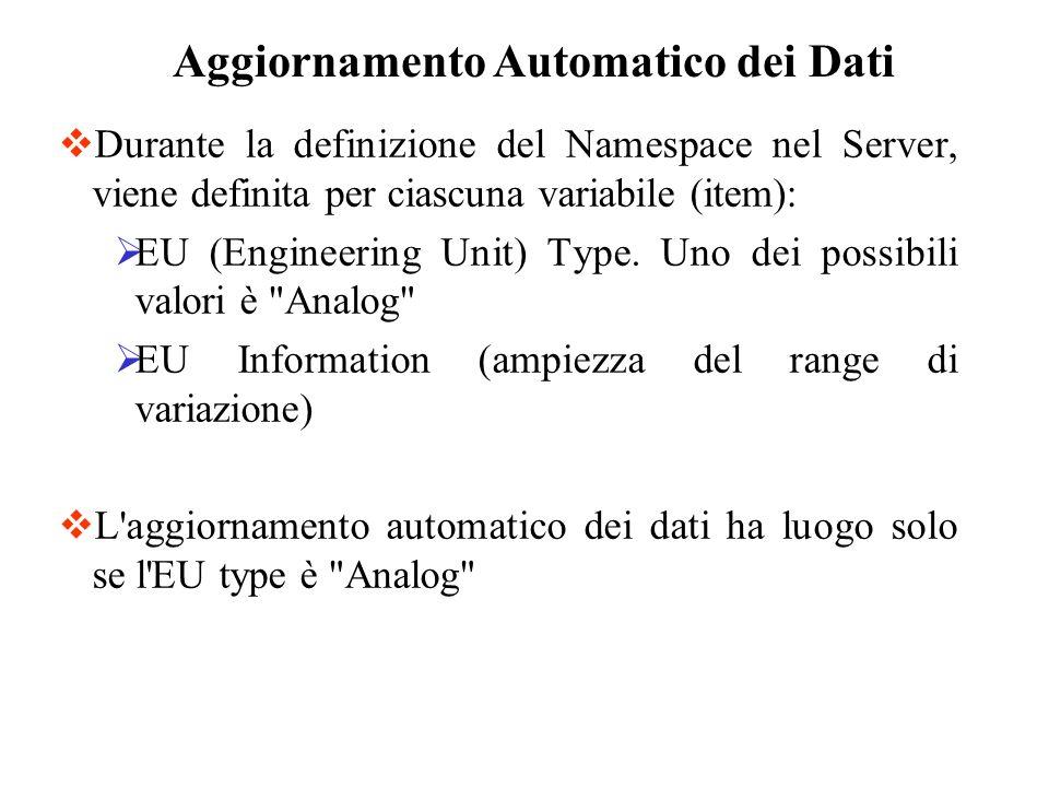 Durante la definizione del Namespace nel Server, viene definita per ciascuna variabile (item): EU (Engineering Unit) Type. Uno dei possibili valori è