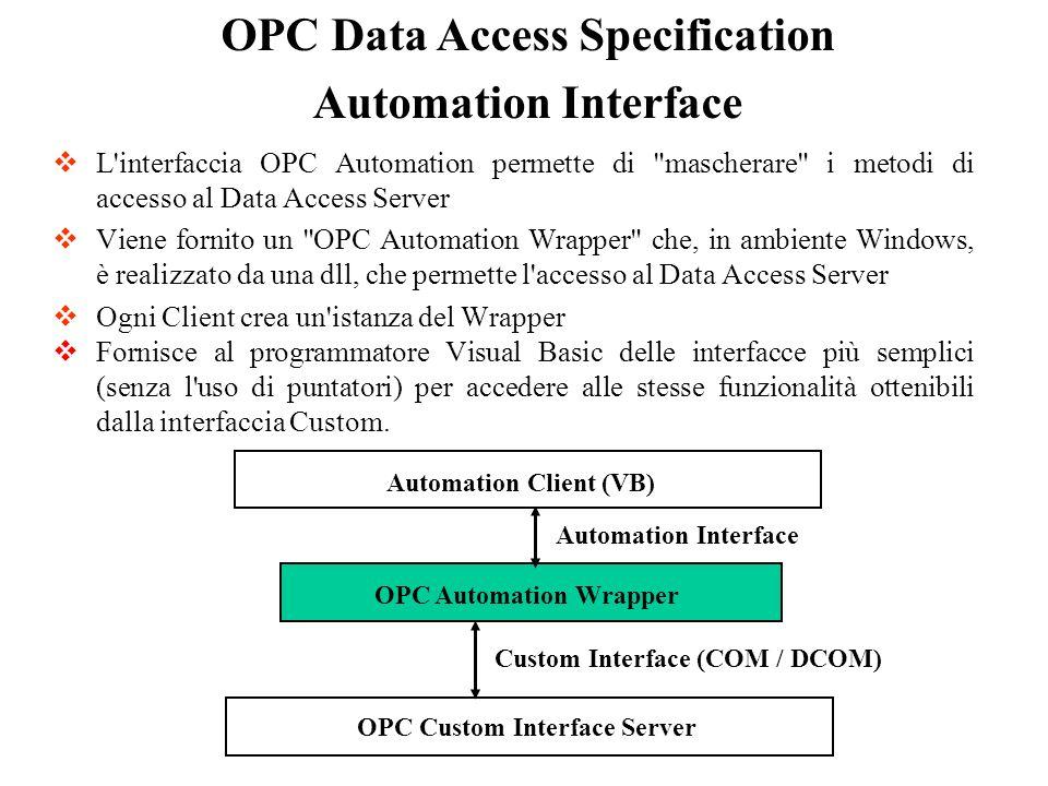 L'interfaccia OPC Automation permette di