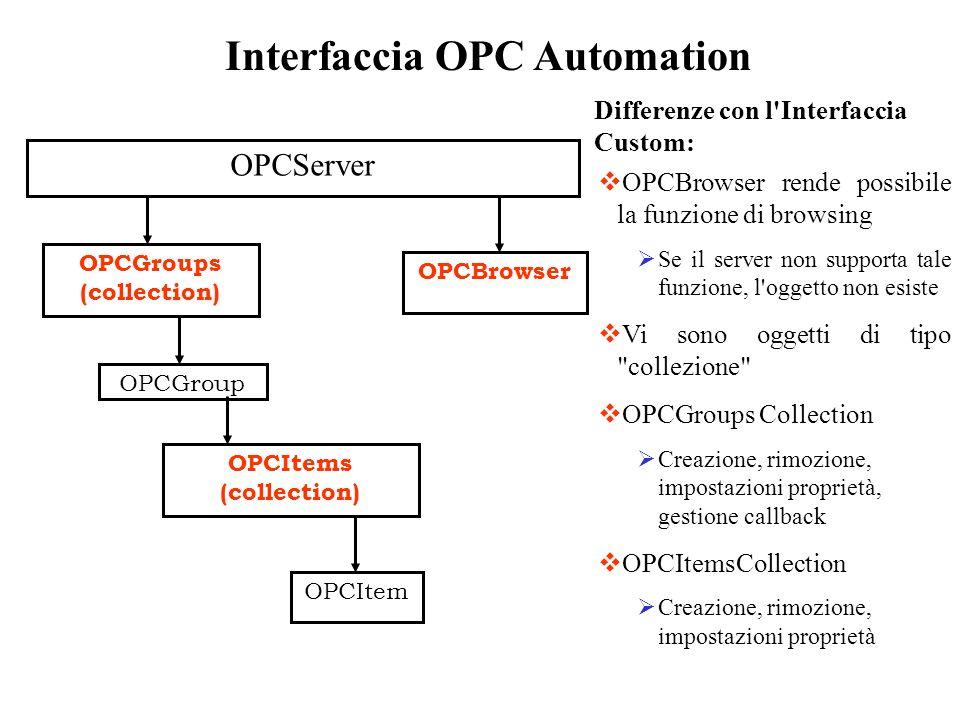 Interfaccia OPC Automation OPCServer OPCGroups (collection) OPCGroup OPCItems (collection) OPCItem OPCBrowser OPCBrowser rende possibile la funzione d