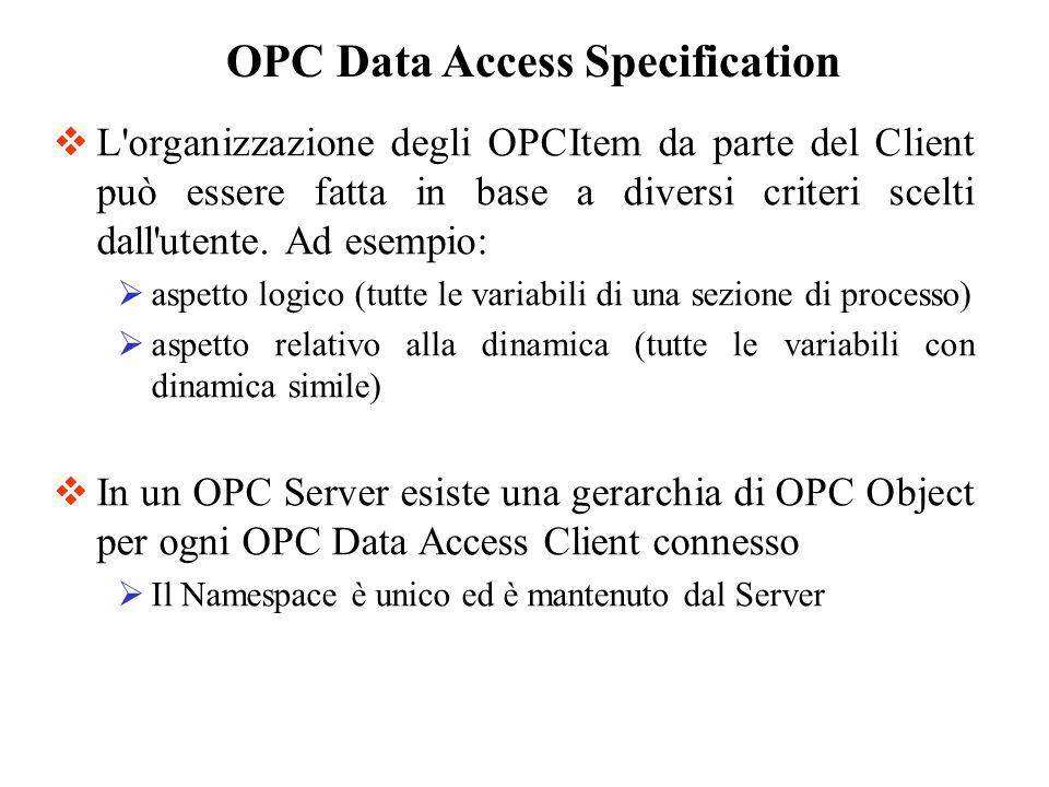 L'organizzazione degli OPCItem da parte del Client può essere fatta in base a diversi criteri scelti dall'utente. Ad esempio: aspetto logico (tutte le