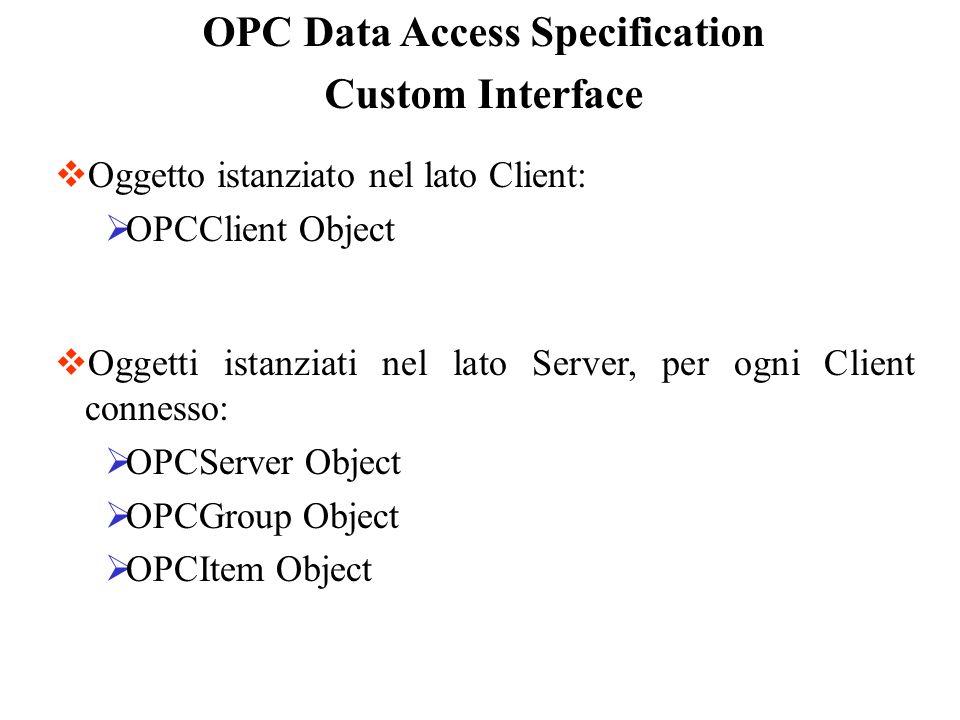OPC Data Access Specification Custom Interface Oggetto istanziato nel lato Client: OPCClient Object Oggetti istanziati nel lato Server, per ogni Clien