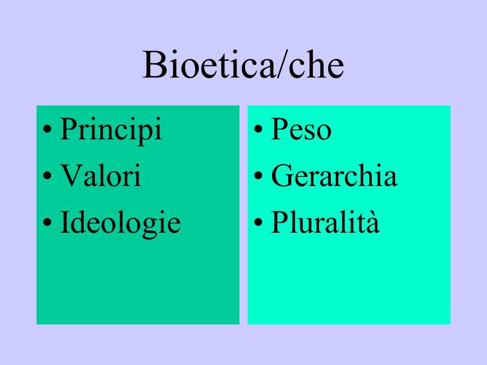 Bioetica/che Principi Valori Ideologie Peso Gerarchia Pluralità