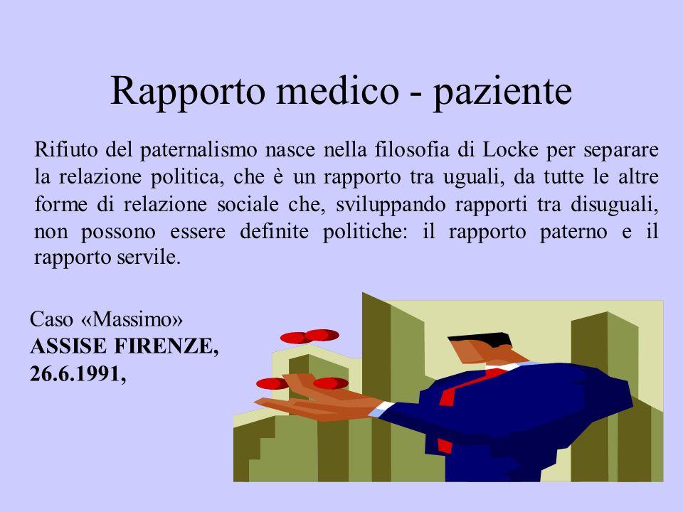 Rapporto medico - paziente Rifiuto del paternalismo nasce nella filosofia di Locke per separare la relazione politica, che è un rapporto tra uguali, d