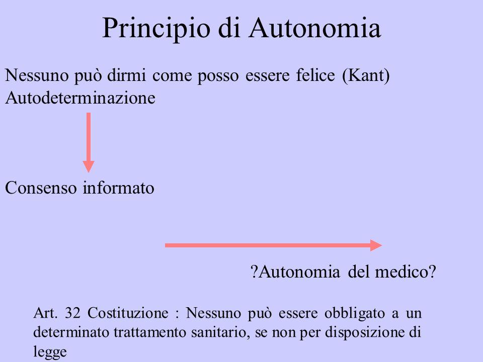Principio di Autonomia Nessuno può dirmi come posso essere felice (Kant) Autodeterminazione Consenso informato ?Autonomia del medico? Art. 32 Costituz