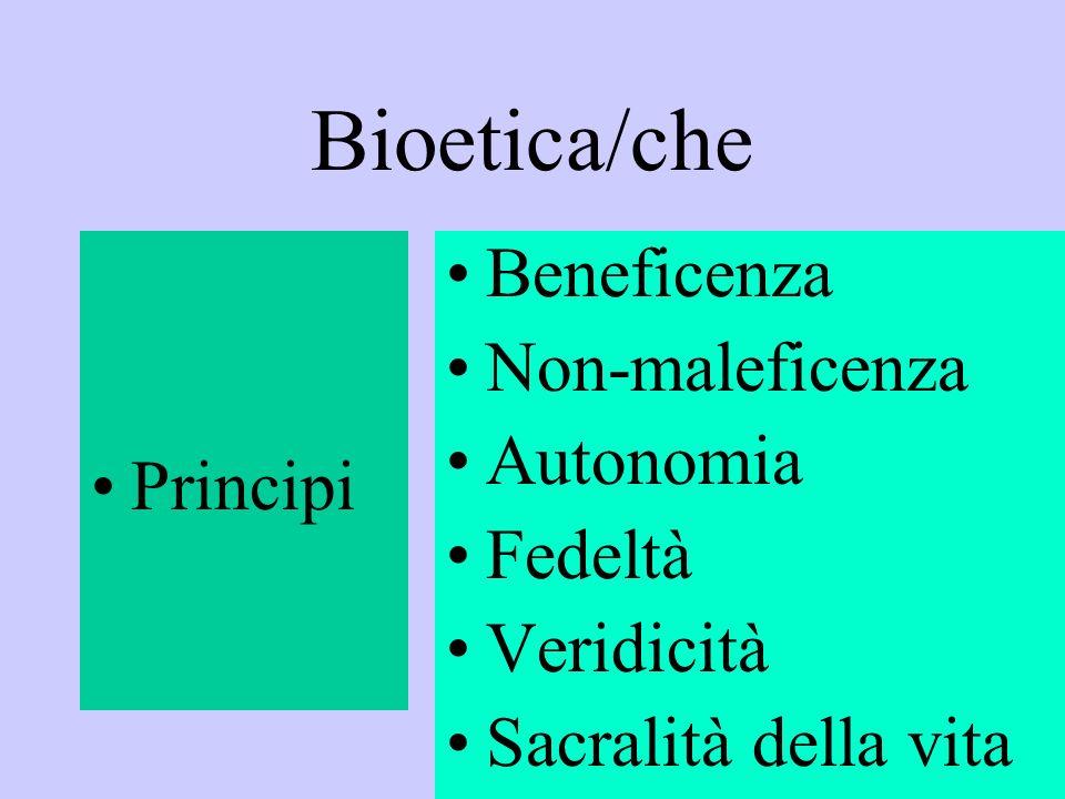 Bioetica/che Principi Beneficenza Non-maleficenza Autonomia Fedeltà Veridicità Sacralità della vita