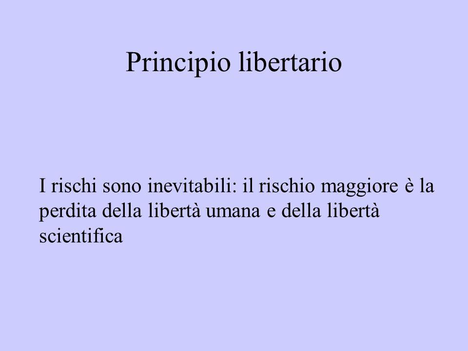 Principio libertario I rischi sono inevitabili: il rischio maggiore è la perdita della libertà umana e della libertà scientifica